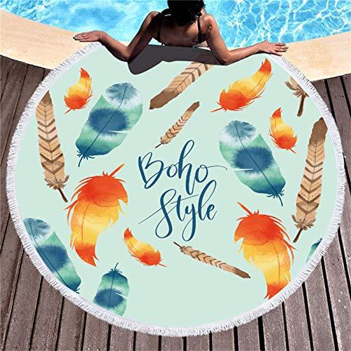 Vanzelu Microvezel Dream Catcher Strandhanddoek voor volwassenen, yogamat, kwast, deken, grote ronde handdoek, 150 cm, tapijt, wooncultuur H