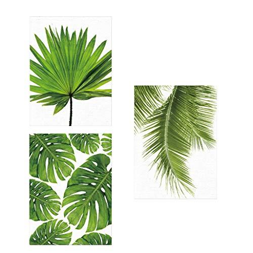 Tubayia 3 Pezzi Stampa Artistica su Tela con Foglie Verdi, Set di Immagini per Soggiorno Decorazione Regalo