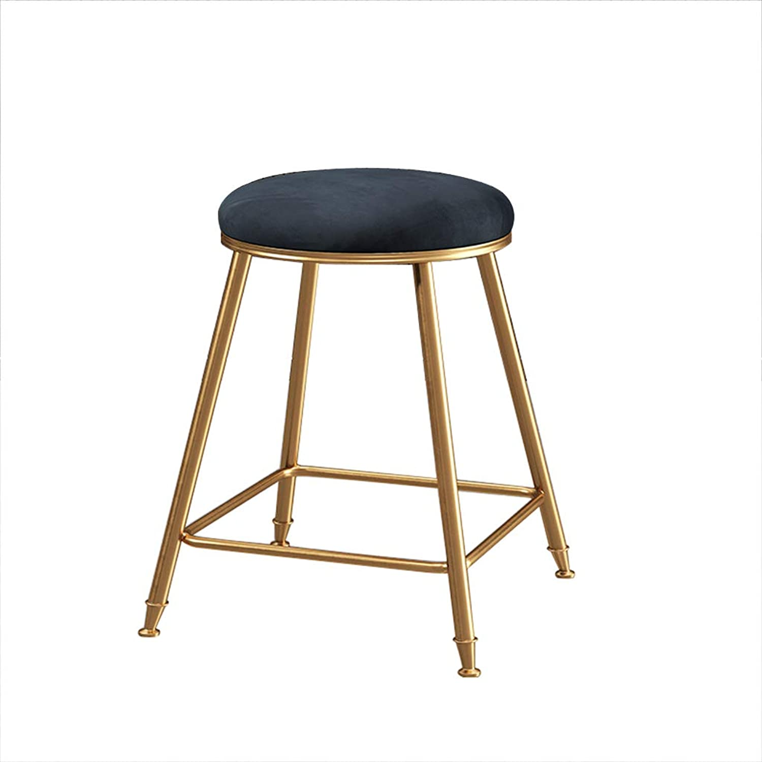 Nordic Bar Chair Iron Art Backrest High Stool Simple Fashion Dining Chair with Footrest Round for Pub Home Restaurant High 45 65 75cm (3 colors)