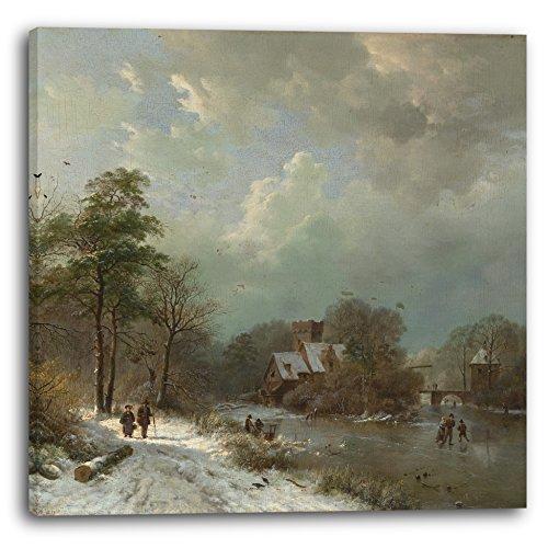 Printed Paintings Leinwand (70x70cm): Barend Cornelis Koekkoek - Winterlandschaft, Holland