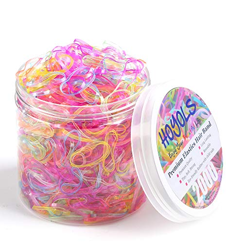 Hoyols 2000 Small Baby Toddler Rubber Bands Hair Ties Ponytail Elastic Multi Color for Kids Girls Hair Value Pack