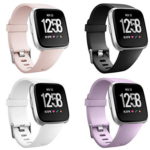 Neitooh 4 Packs Bands Compatible with Fitbit Versa/Versa 2/Fitbit Versa Lite for Women and Men, Classic Soft Silicone Sport Strap Replacement Wristband (Large, Black/White/Sand Pink /Lavender)