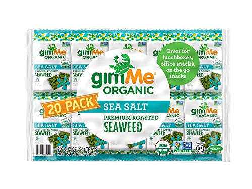 gimMe Snacks - Organic Roasted Seaweed - Sea Salt - (.17oz) - (Pack of 20) - non GMO, Gluten Free - Healthy on-the-go snack for kids & adults