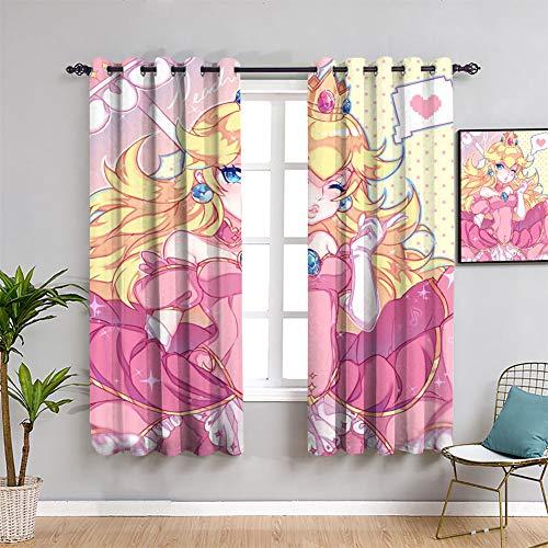 Cortina de cortina de ventana personalizada, diseño de princesa melocotón Kawaii, 84 x 84 pulgadas