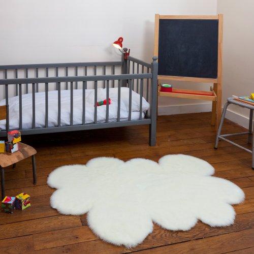Tapis enfant pilepoil Nuage blanc 90 x 130 cm fausse fourrure Fabrication Française