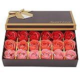 Rose Jabón Flor en Caja de Regalo, Ramo de Flores de Jabón con Caja de Embalaje Ramo de Rosas Artificiales para el Día de San Valentín, Cumpleaños Regalo, Día de la Madre