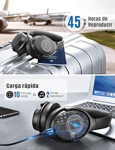 Mpow H17 Auriculares con Cancelación de Ruido, 45 Hrs de Juego, Cascos Bluetooth Diadema con Carga Rápida, Sonido Hi-Fi, Auriculares Diadema Bluetooth con Micrófono para TV/Móvil/PC