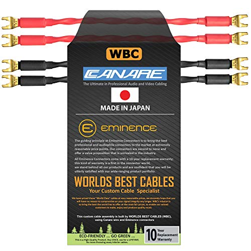 4 Units - 6 Inch - Canare 4S11 – Audiophile Grade - 11AWG - HiFi Speaker Cable Jumper Terminated with Gold Spade Connectors