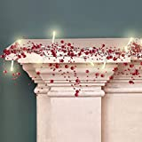 10 Feet 30 LED Christmas Light Berry Beaded Garland Indoor Christmas String Lights for Fireplace Mantel Indoor Christmas Light Decorations