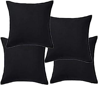 comprar comparacion Ikea Gurli - Funda de cojín, color negro - 50x50 cm, algodón, negro, Pack de 4