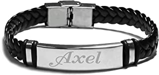 Name Bracelet AXEL - Personalised Mens Leather Braided Engraved Bracelet. Including Gift Box and Gift Bag. 2mm thick Nameplate.