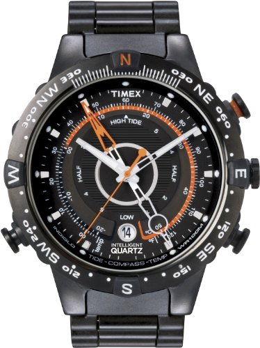 Timex Men's T2N723 Intelligent Quartz Adventure Series Tide Temp Compass Black IP Bracelet Watch