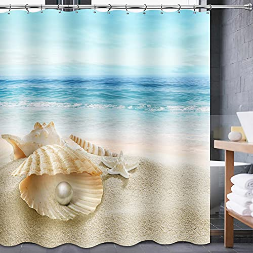 Lnond Beach Shower Curtain, Ocean Shower Curtain with 12 Hooks, Seashell Starfish Shower Curtains, Washable Waterproof Fabric Shower Curtain Set for Bathroom (72' x 72')