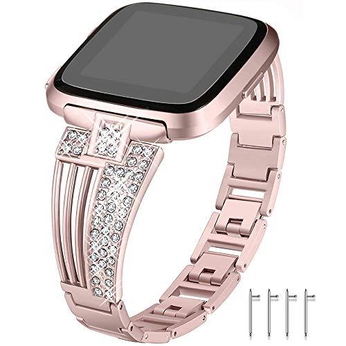 Myada Armband für Fitbit Versa/Fitbit Versa Lite,Uhrenarmband Ersatzband Fitbit Versa Band Frauen Metall Armband Fitbit Versa Glitzer Strass Damen Armbänder Fitness Zubehör für Fitbit Versa