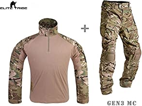 Men Military Airsoft Paintball BDU Uniform Combat Gen3 Tactical Uniform with Knee Pad Multicam MC