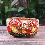 YYDS Maceta de champiñón, gres de hongos suculentas maceta decoración del hogar creativa agujero artesanal suculenta maceta (D)