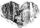 Babyelefant am Wasserfall Kunst B&W Herzform im 3D-Look , Wand- oder Türaufkleber Format: 92x64.5cm, Wandsticker, Wandtattoo, Wanddekoration