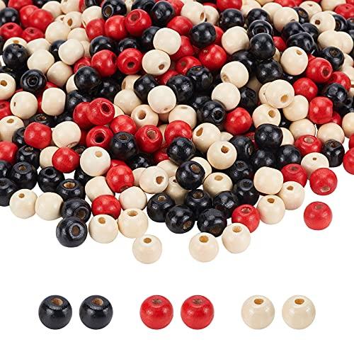 PandaHall 900 cuentas de madera de 10 mm, cuentas de madera redondas pintadas, espaciadoras sueltas, 3 colores para joyas, collares, granjas y manualidades, agujero de 3,5 mm