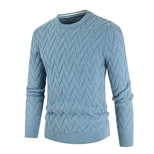 Suéter para Hombre Primavera y otoño Retro Cuello Redondo Letra M Suéter de Punto de Ganchillo Moda Informal Versátil Suéter de Manga Larga M