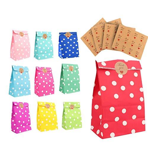 MQIAN 40 Piezas Bolsas para Chuches, 10 Colores Papel Bolsas, Bolsas Regalo, Bolsas De Cumpleaños Infantil, Fiesta De Cumpleaños Favores Bolsas
