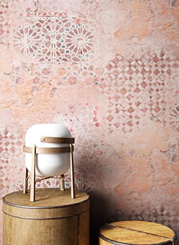 NEWROOM Tapete Orange Vliestapete Beton - Betonoptik Industrial Braun Creme Fliesen Putz Putzoptik Vintage Fliesenoptik Mustertapete inkl. Tapezier-Ratgeber