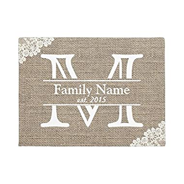 Monogram Rustic Family Name Doormat Rubber Front Floor Door Mats Welcome Entrance Way Door Mats for Home 16 x 24