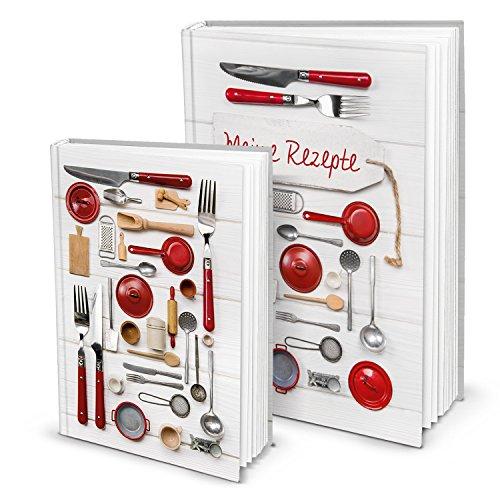 Cadeauset voor Kerstmis, verjaardag, bruiloft, 1 x DIN A5 + 1 x A4 receptenboek, kookboek, bakboek om zelf te schrijven, mijn recepten voor het verzamelen van kookrecepten, bakrecepten, keuken, eten gezonde voeding