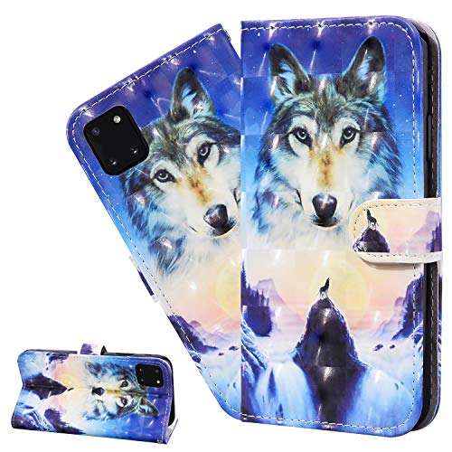 LEMAXELERS For iPhone 11 Pro Max Case iPhone 11 Pro Max Cover 3D Sunrise Wolf PU Leather Flip Notebook Wallet Case Magnetic Stand Card Slot Folio Bumper Case for iPhone 11 Pro Max,CY Sunrise Wolf