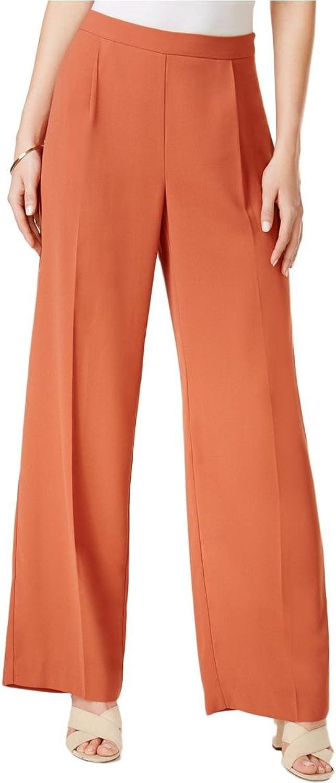 Bar III Womens Pleated WideLeg Suit Pants orange 4