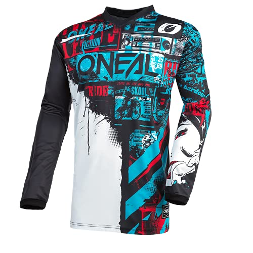 O\'NEAL | Motocross-Jersey Langarm | Kinder | MX Enduro | Gepolsterter Ellbogenschutz, V-Ausschnitt, atmungsaktiv | Element Youth Jersey Ride | Schwarz Blau | Größe M