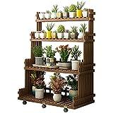 LOHOX Blumenregal Blumenständer mit 6 Universalrädern Pflanzentreppe für Indoor Balkon Wohnzimmer Outdoor Gartendeko Pflanzenregal Holz 100 * 53 * 130 cm