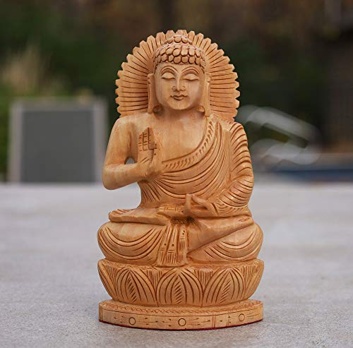 DharmaObjects Hand Carved Kadam Wood Blessing Sitting Buddha Statue (6' Tall X 3.5' Wide, Gautama Buddha)