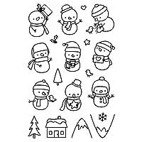 メタルカッティングダイセット、カッティングダイクリスマス、DIYアルバムエンボスクリスマススノーマン透明シリコンスタンプシール(B)