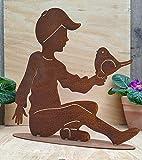 terracotta-toepfe-de Rost Figur Junge mit Vogel Höhe ca. 35, Metall Edelrost Gartendeko, Skulptur