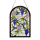 Makenier Vintage Art Nouveau Tiffany Style Stained Glass Arch Blue Wisteria and Humming Bird Window Hanging Window Panel Widnow Pane Window Wall Decor Decoration
