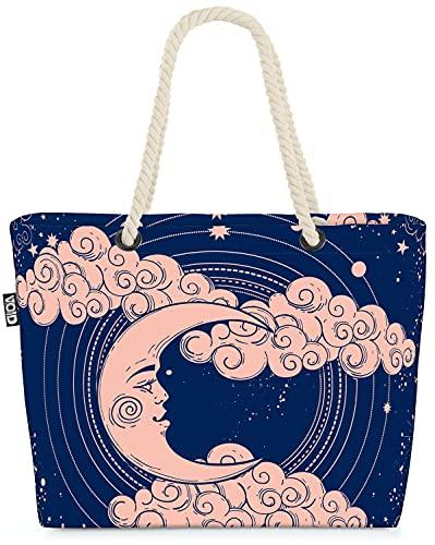 VOID Mond Sterne Astrologie Strandtasche Shopper 58x38x16cm 23L XXL Einkaufstasche Tasche Reisetasche Beach Bag