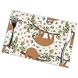 asdew987 - Set di 6 tovagliette lavabili per tavolo da pranzo, con motivo a fiori e albero, in cotone, con stampa a doppio tessuto, per tavolo da cucina, 30,5 x 45,7 cm
