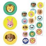 Animales Niños Pegatinas (Perros, Gatos, Leones, Elefantes) - 10 diseños, 20 Hojas, 200 Pegatinas
