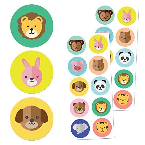 TownStix Tier Kinder Aufkleber Stickers, (Hund, Katze, Löwe, Elefant) - 20 Blätter, 200 Stück