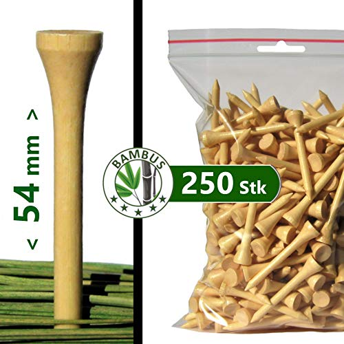 "Premium Golf TEES - 54 mm (2 1/8"") - 250 Stück - 100{56d992f2568353e3668a29ef670e44f828e0bd6573957c6a58f545457037af7d} Bambus - Farbe: Natur (lackiert)"