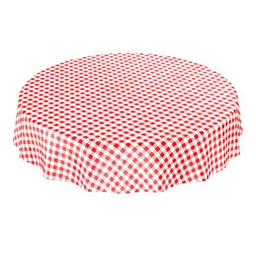 Toile cirée lavable classique à carreaux en rouge rond 100 cm, Toile cirée, Mehrfarbig, Rund 140cm