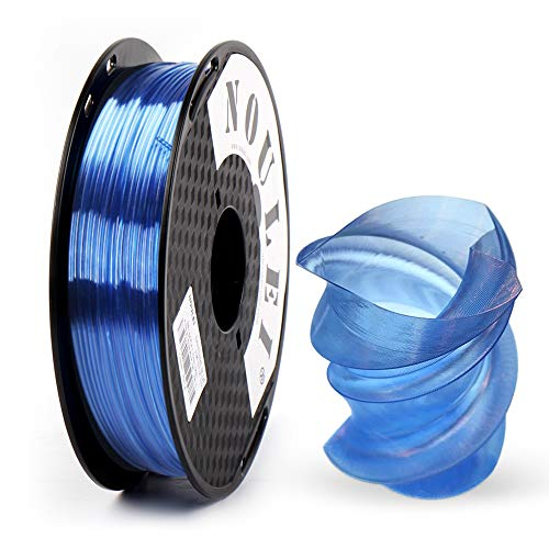 Noulei PETG 3D Printer Filament 1.75mm, Strong 3D Printing Filament, (Transparent Light Blue, 0.5kg 500g)