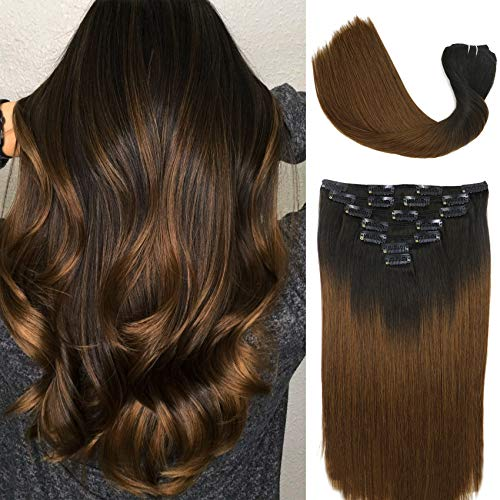 Clip In Hair Extensions Human Hair Ombre Hair Natural Black Fading to Medium Brown Brazilian Hair 120g 7pcs Per Set Remy Hair Full Head Silky Straight Human Hair Clip In Extensions(18 Inch #1BT4)