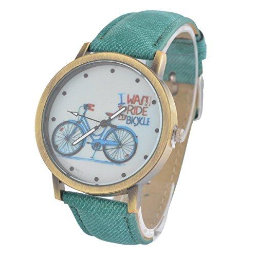 Souarts Canvas Bike Pattern Round Quartz Wrist Watch Green Women Watch Gift Christmas