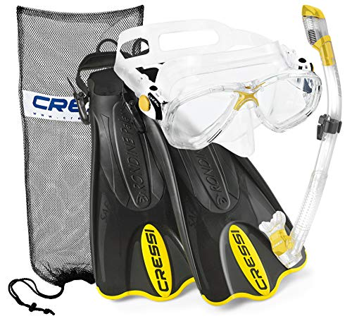 Cressi Italian Collection Palau Adjustable Mask Fin Snorkel Set with Snorkel Gear Carry Bag, Gialla - M/L (CRSPSFSS_YEL-ML-Q)