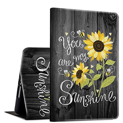 Rossy - Funda para tablet Amazon Kindle Fire HD 8 (7ª/8ª, 2017/2018), piel sintética tipo libro con función atril ajustable y función de encendido y apagado automático, You are My Sunshine Wood