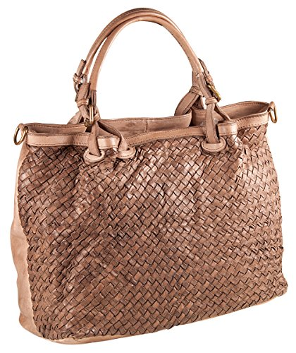 PELLE ITALY Shopper Tasche Flechttasche Damen Schultertasche Echt Leder 38x28x17 cm (BxHxT), Farbe:Taupe