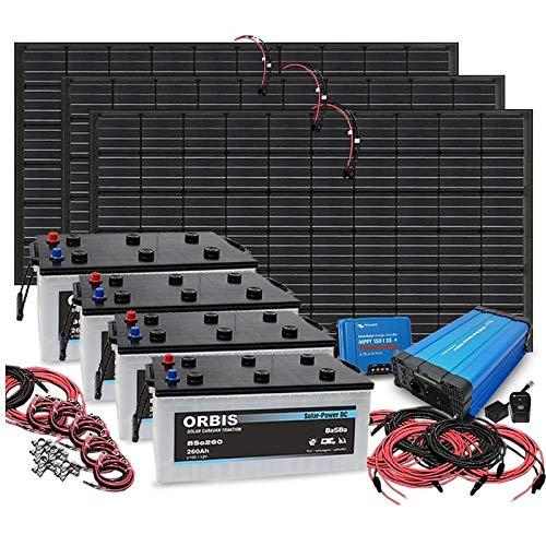 3.000 Watt Insel Solaranlage autarke PV-Anlage mit 1.040Ah Batterien, 960W Solarpanelen, 4 Solarbatterien, Victron MPPT Laderegler, Sinus Wechselrichter, installationsbereit