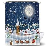 Lifreer 1 x Weihnachtsduschvorhang Weihnachtsmann Schneemann Frohe Weihnachten Wasserdicht Bad Duschvorhang für Weihnachtsdekoration (70 x 22,9 x 177,8 x 22,9 cm.