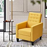 ECOTOUGE Massage Mid-Century Modern Fabric Recliner, Push Back Recliner Chair w/Side Pocket and Button Tufted Back Single Sofa Chair for Livingroom Bedroom Home and Office, Yellow